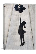 A Banksy graffiti on the separation wall in Palest, Canvas Print