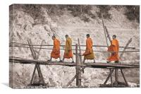 Buddhist monks across a bamboo bridge, Canvas Print