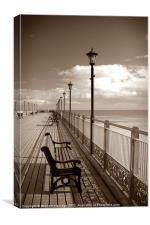 Skegness pier in sepia, Canvas Print