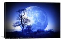 Tree and moon silhouette, Canvas Print