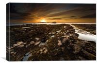 Sunset Seascape at Gardenstown Aberdeenshire, Canvas Print