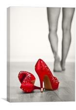 Kicking off Red High Heels, Canvas Print