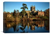 Hereford Cathedral and River Wye, Canvas Print