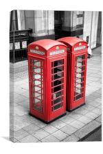 Telephone Boxes, London., Canvas Print