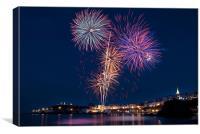 Tenby Harbour Fireworks, Canvas Print