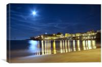 Tenby Harbour by moon light, Canvas Print