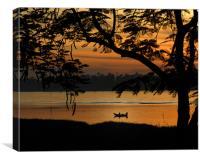 Fishing at sunset, Canvas Print