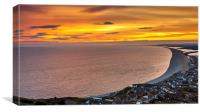 Sunset from a bay village in Dorset UK, Canvas Print