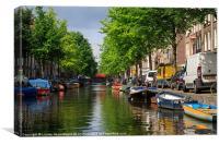 Amsterdam Canal Scene, Canvas Print