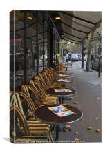 Tables outside a Paris bistro, Canvas Print