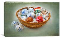 Basket of Easter Eggs, Canvas Print