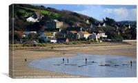 The beach at Marazion, Cornwall, Canvas Print