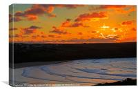 Sunset over the Gannel and Crantock, Canvas Print