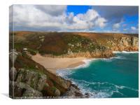 Porthcurno beach and cliffs, Cornwall, Canvas Print