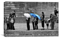 Rainy Day Queue, Canvas Print