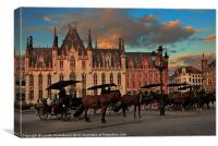 Markt Square at dusk, Bruges, Canvas Print