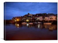 Whitby Lower Harbour at night, Canvas Print