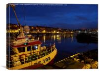 Whitby Upper Harbour at night, Canvas Print