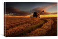 Harvester sunset, Canvas Print
