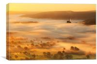 Golden mists over castleton, Canvas Print