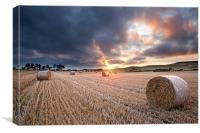 Straw Bale Sunset, Canvas Print