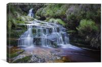 Waterfalls Above Black Clough, Canvas Print