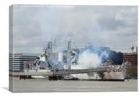 HMS Belfast Firing Gun Salute, Canvas Print