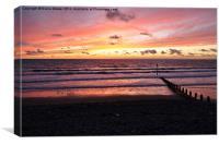Sunset Borth Beach, Canvas Print