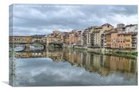 Ponte Vecchio and the river Arno Florence., Canvas Print