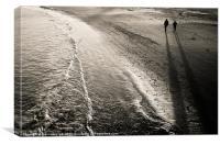 Evening beach walk, Canvas Print