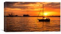 Harbourside sunset, Canvas Print