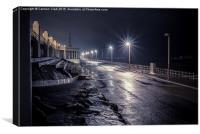 Rainy Winter's evening on Blackpool Promenade, Canvas Print