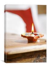 Divali solitary diva flame, Canvas Print