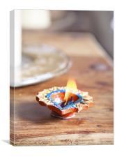 Fluttering glittering Divali Holi candle, Canvas Print
