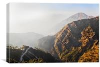 Pilgrims trail through misty mountains, Canvas Print