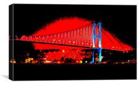 Bogazici Kpr Bridge red after dark, Canvas Print