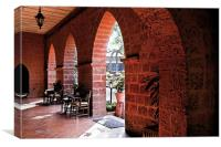 Pointed red brick arches to gardens, Canvas Print