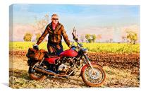 Glowing european with Indian motor cycle, Canvas Print