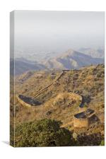 Kumbhalgarh wall snakes over the terrain, Canvas Print