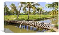 wooden walkway to paddy fields, Canvas Print