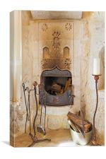 Olde Worlde fireplace in a Cave, Canvas Print