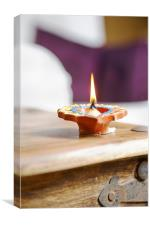 Divali solitary diva ghee lamp portrait flame deep, Canvas Print