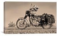 Touring Motor cycle parked on Roadside, Canvas Print
