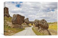 Balanced Volcanic Boulders Dirt Track, Canvas Print