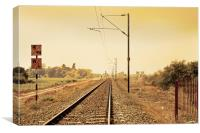 Indian Hinterland landscape with railroad track, Canvas Print
