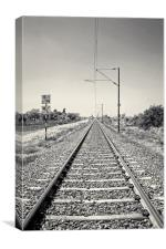 Railroad track through India heading to Surat, Canvas Print