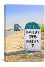 195 kilimeters to Rajkot Milestone, Canvas Print