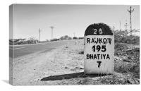 Rajkot 195 milestone on State Highway 25, Canvas Print