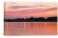 Sunset and Coastal Lights, Canvas Print
