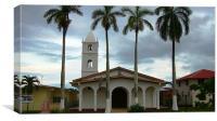 Pedasi Church & Palm Trees, Canvas Print